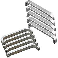 Qrity 10x Manija de aluminio de la manija de los cajones de los 128MM centros de los agujeros Armarios de la manija antideslizante de la manija sólida de la plata