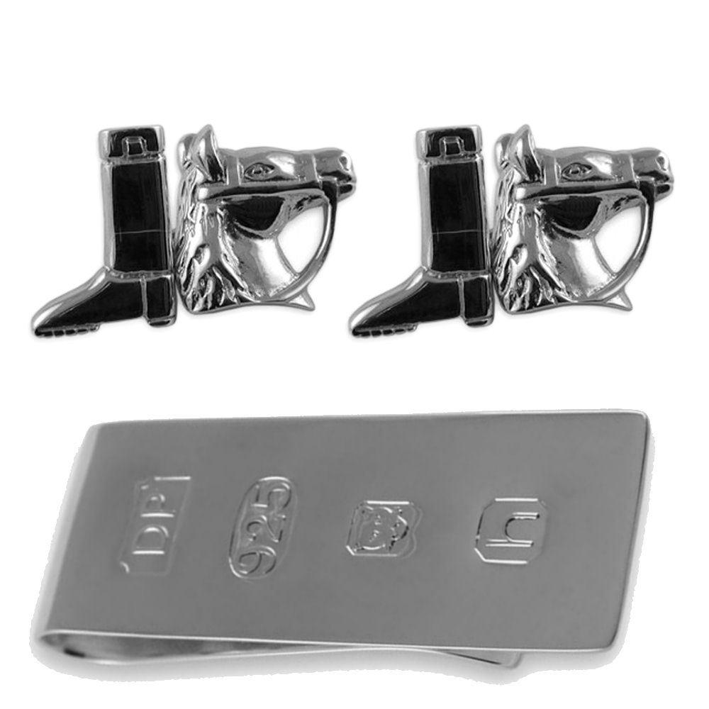 Sterling silver horse & riding boot cufflinks James Bond Money Clip Box Set