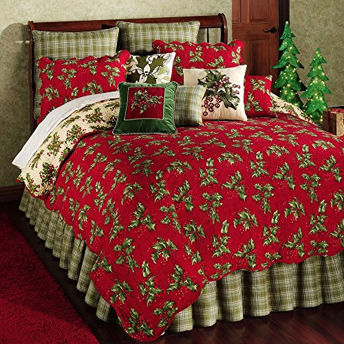 Holly Red Queen 7-Piece Quilt Bedding Ensemble by April (Ensemble Christmas Holly)