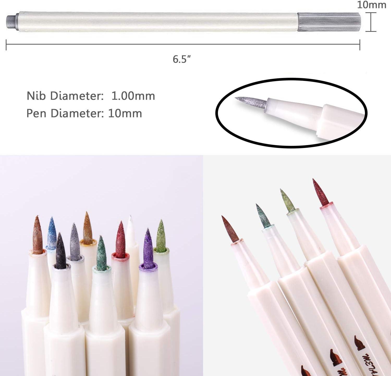 Metallic Marker Pens Set of 10 Assorted Colours Paint Pen for Guest Book Wedding Glass Art Card Making DIY Photo Album Scrapbook Plastic Wood Ceramics Brush Tip