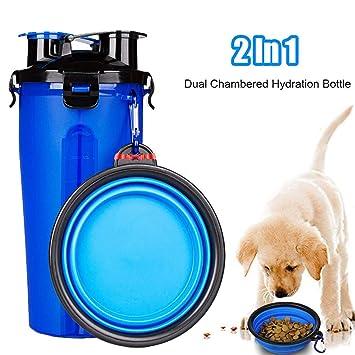 Botellas de Agua para Perros, Hervidor portátil para mascotas con cuenco plegable con 2 cámara para 350ml de agua y 250g de comida: Amazon.es: Productos ...