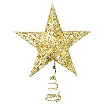 Stern Auf Weihnachtsbaum.Amazon De Stern Weihnachtsbaum Gold Für Weihnachtsbaum Dekoration 25cm