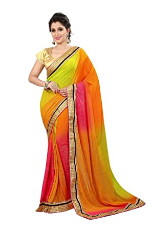 1196430f60 Fancy Saree for Women's Wedding party wear Designer Mashup saree using  Georgette Multi Color New Trend