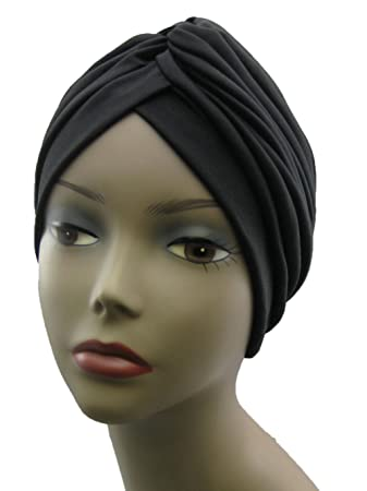 Big Satin Bonnet Turban Black