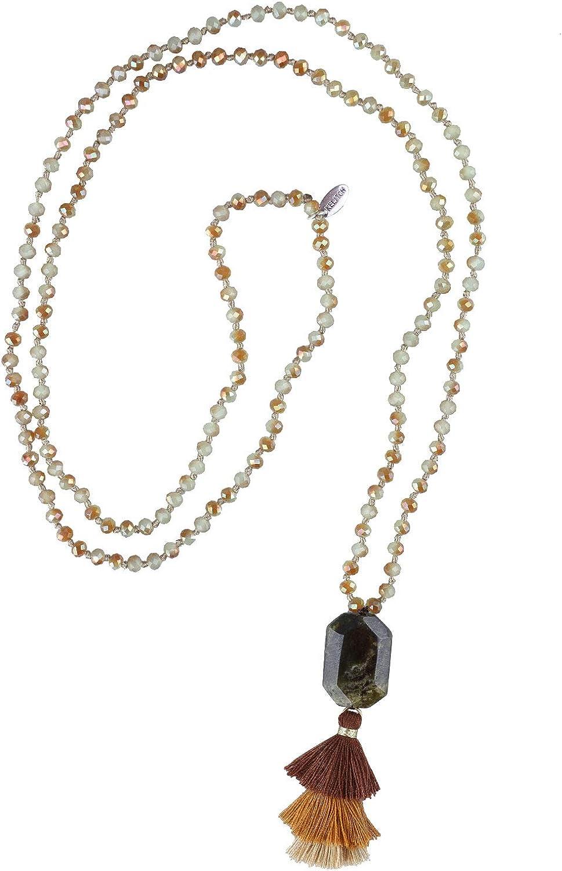 KELITCH 2020 Nuevo Colgante Borla Colorida Piedra Natural con Cuentas Collares de Hilo Largo Estilo Yoga