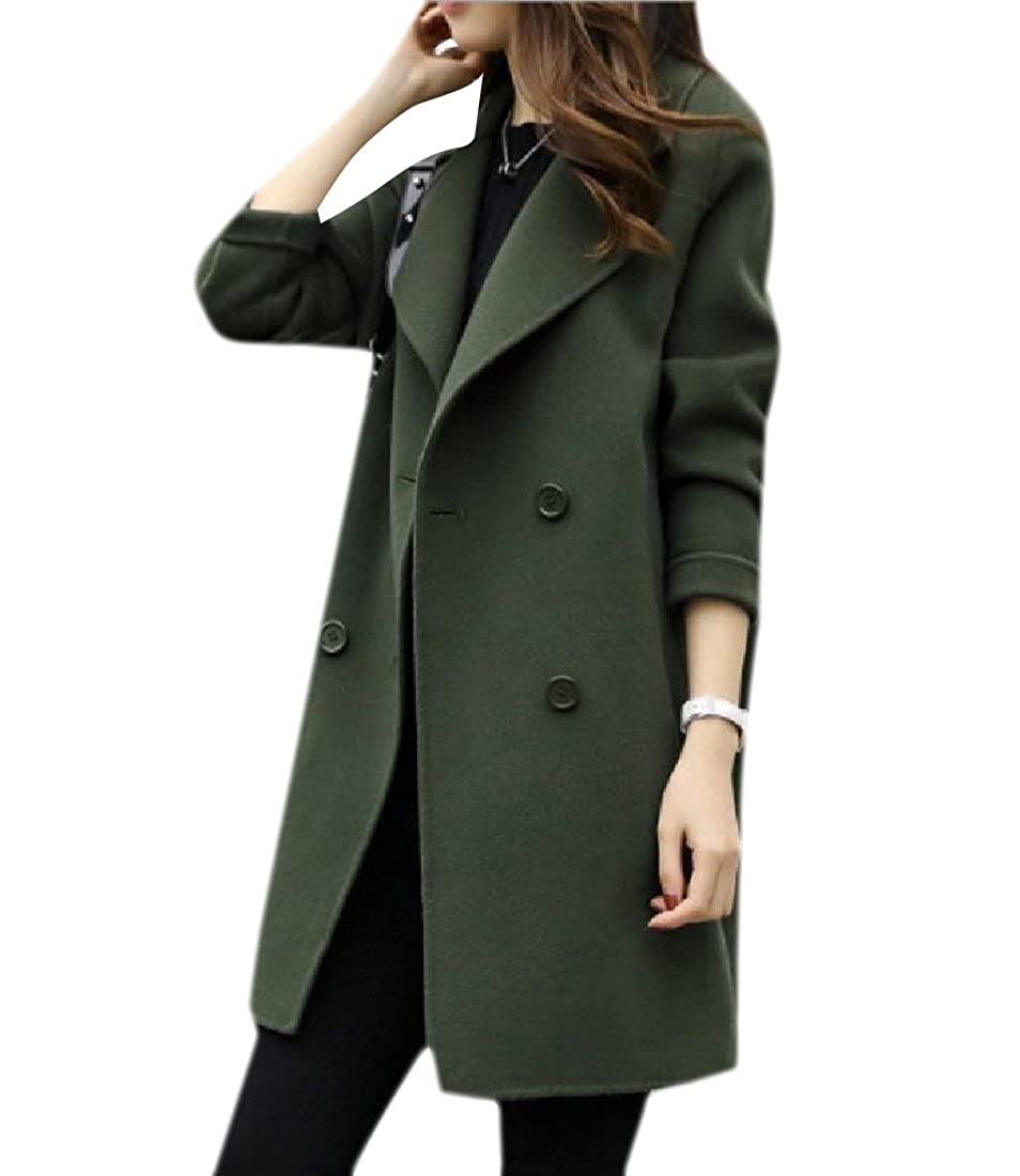 Zimaes-Women Stylish Relaxed-Fit Wrap Mid Length Double-Breasted Pea Coats