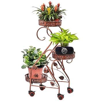 Bastidores de Flores de Hierro Metal Estante de Flores con Rueda para 3 macetas de Plantas