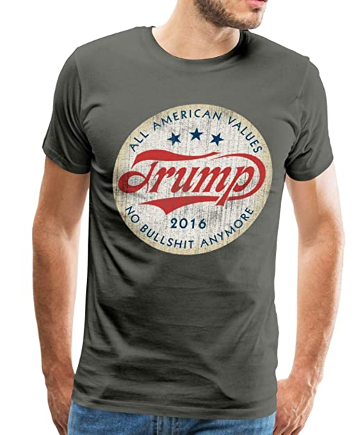 1ac695462d Amazon.com: Spreadshirt Trump 2016 American Values Slogan Men's Premium T- Shirt: Clothing