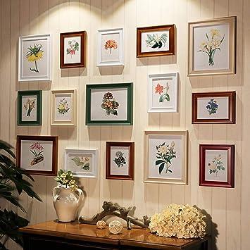 b9f6fb115c23 Lianhuac Photo wall combination 15 Pcs Set Wood Photo Frame Vintage Style  Photo Frames Black