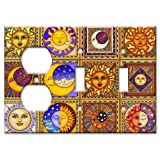 Celestials Theme Metal Wall Plate - Triple Gang Combo - Outlet / 2 Toggles