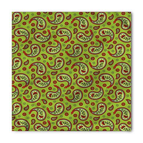 Paisley Bandana by Lunarable, Flowers Ancient Asian Artwork with Geometrical Shapes Vibrant Colors, Printed Unisex Bandana Head and Neck Tie Scarf Headband, 22 X 22 Inches, Apple Green - Shape Asian Head