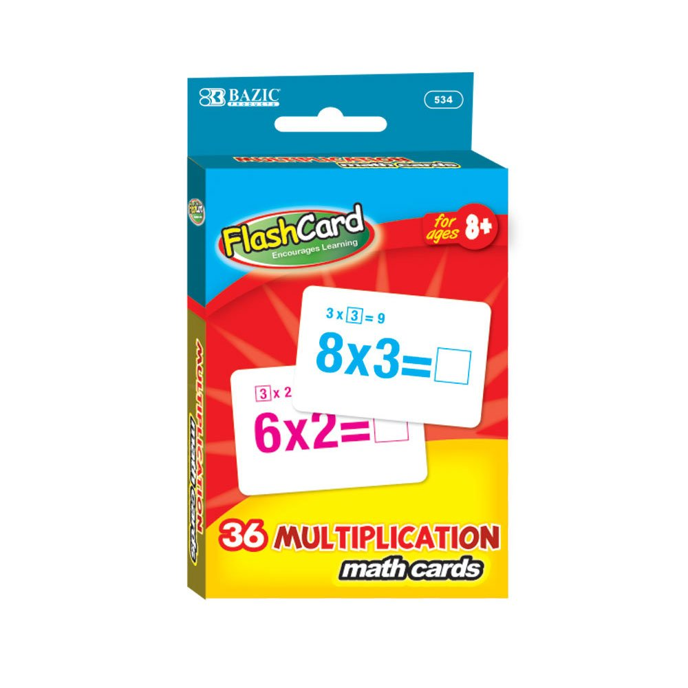 BAZIC Multiplication Flash Cards (36/Pack), Case of 24