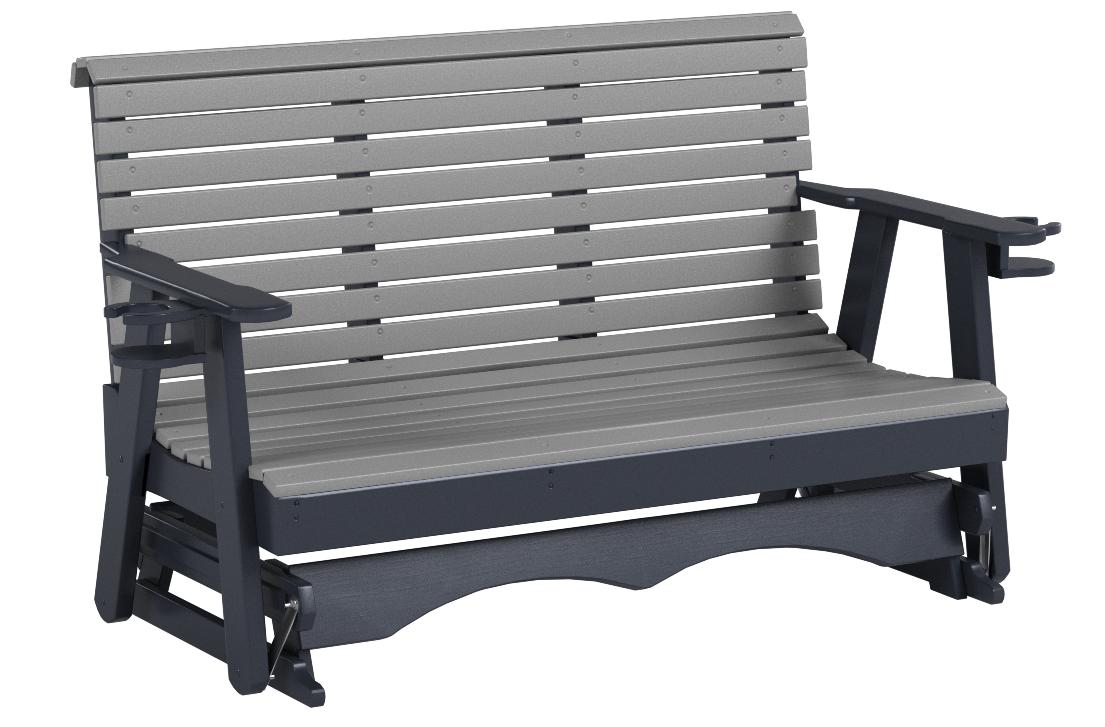 Ecommersify Inc 5FT-Dark Gray-Poly Lumber ROLL Back Porch Glider