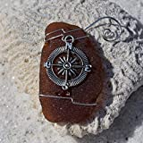 Custom Surf Tumbled Sea Glass Ornament with a Silver Compass Charm - Choose Your Color Sea Glass Frosted, Green, and Brown.