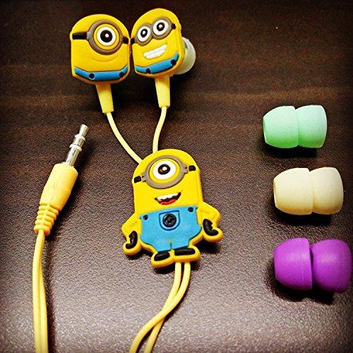 Kresto Minions In Ear Earphone,Includes 3 Additional Earplug Covers Stereo Dynamic Wired Headphones  Multicolour