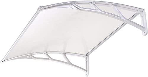 Instahibit 39×39″ Window Awning Door Cover UV Rain Snow Protection Outdoor Patio Canopy One-Piece Hollow Sheets White