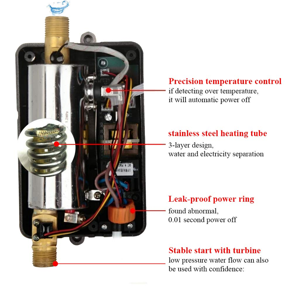 3000W Mini Electric Tankless Instant Hot Water Heater with LCD Display for Home Bathroom Kitchen Washing US Plug 110V (Black) by Garosa (Image #4)