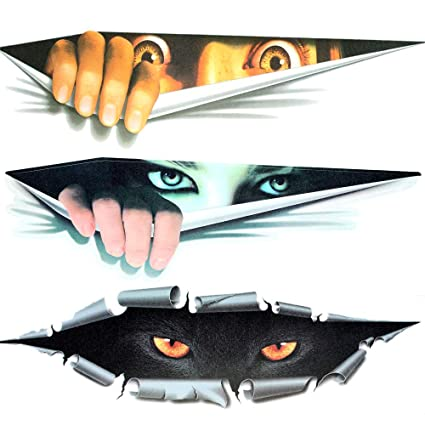 3D Personalized Car Stickers Decals Eyes Peeking Monster Decoration Sticker  Window Decal Simulation Leopard Auto Truck Printed Scary Waterproof