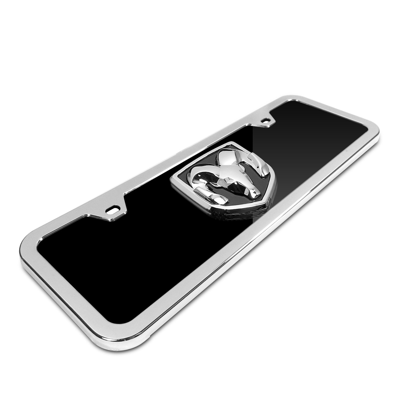 Dodge RAM 3D Logo Half-size Black Acrylic License Plate with Chrome Frame Kit Au-Tomotive Gold INC