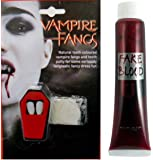 WHITE VAMPIRE FANGS TEETH CAPS & FAKE BLOOD HALLOWEEN DRACULA FANCY DRESS (Vampire Fangs+Fake Blood)