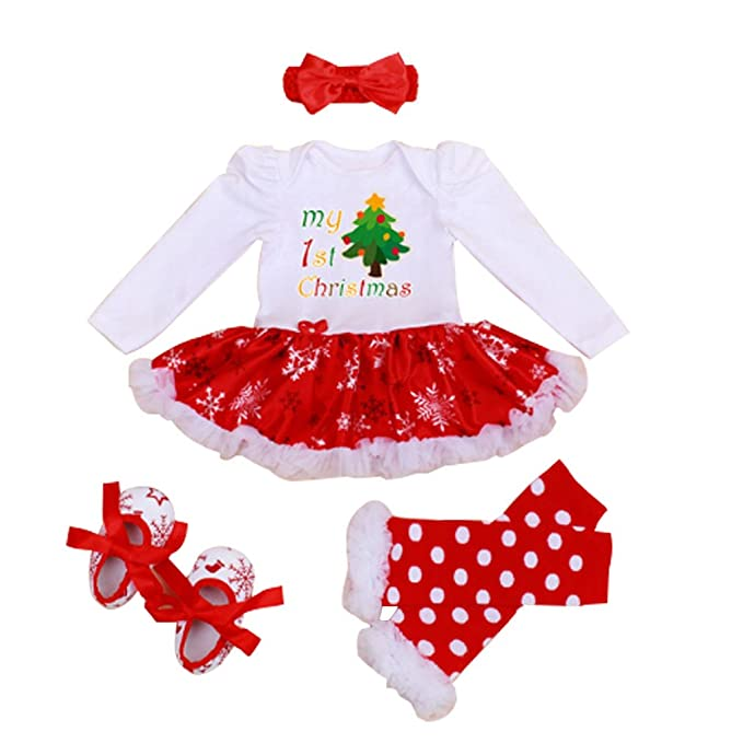 Newborn Christmas Outfit Girl.4pcs My First Christmas Costume Newborn Baby Girl Tutu Dress Xmas Gift Outfits
