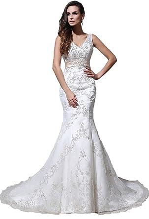 1b805d88963 Angel Formal Dresses Women s V Neck Mermaid Court Train Embroidery Wedding  Dresses (2
