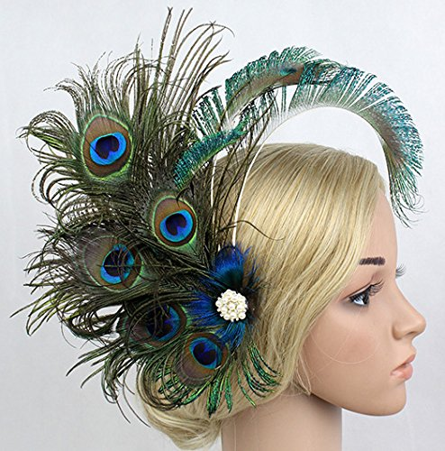Women Girls Peacock Feather Hair Clip Retro Wedding Carnival Party Hairpin by TCYIN (Image #2)