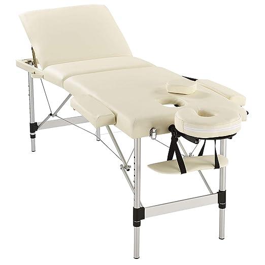 Juskys 3-Zonen Massageliege Massagetisch mit Aluminium-Gestell – beige – 180x60 cm – höhenverstellbar & zusammenklappbar & tr