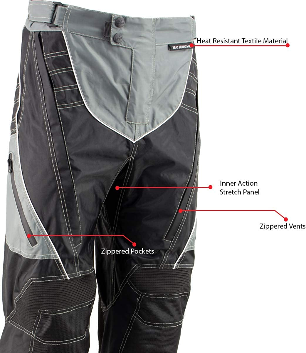 Xelement B4402 Mens Black and Grey Advanced X-Armored Tri-Tex Fabric Motorcycle Pants