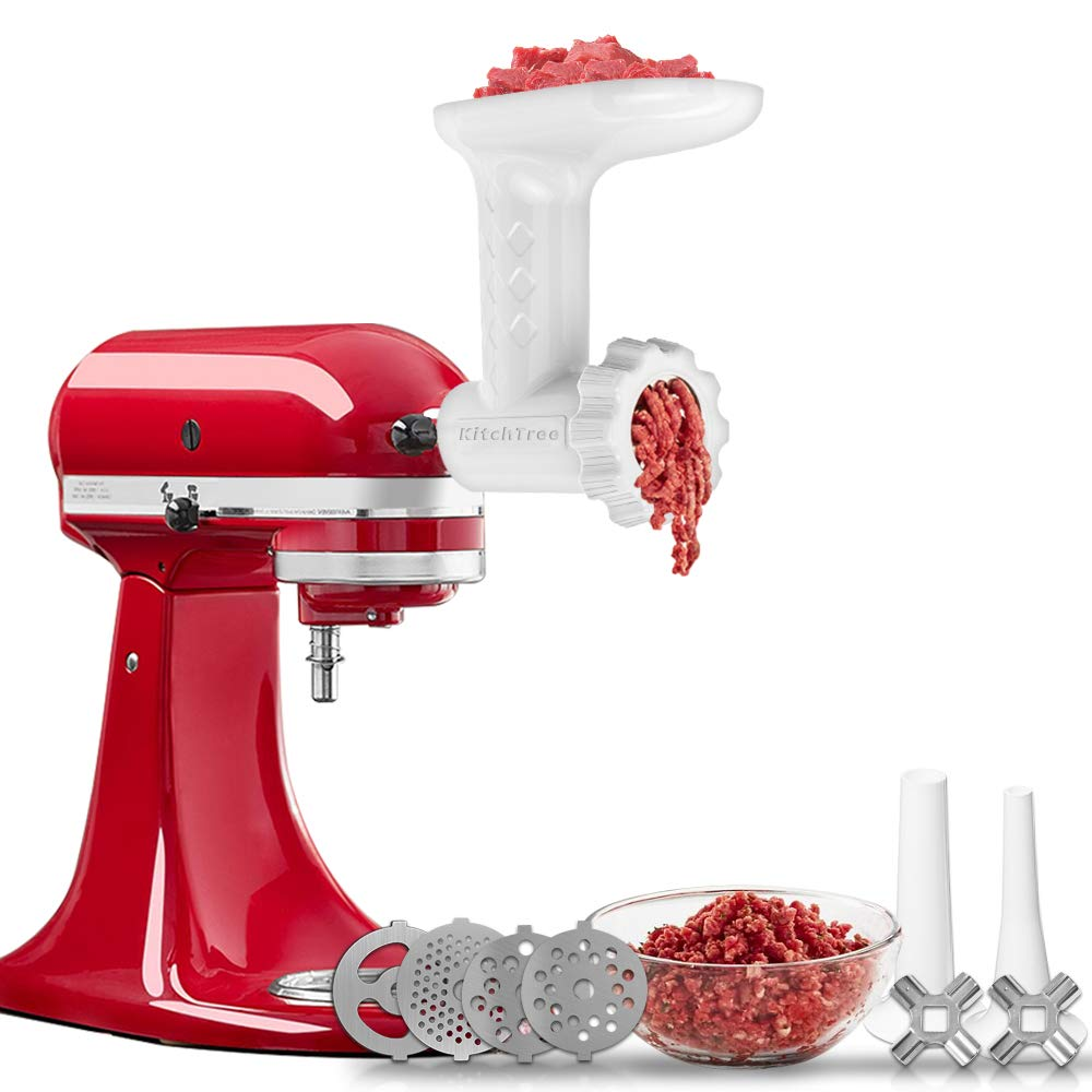 Food Grinder Attachment For KitchenAid Stand Mixers Includes 2 Sausage Filler Tubers, 4 grinding plates, Meat Grinder Attachment for kitchenAid, White