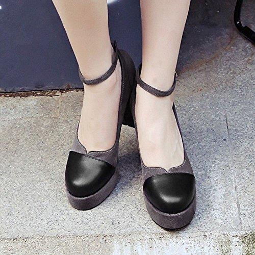 COOLCEPT Women Fashion Platform Block High Heels Pumps Court Shoes Gray 357 DA1GwI7