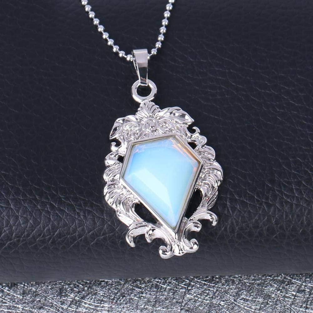 Collar Piedra Para Mujer,7 Chakra Vintage Natural Ópalo Corte Diamante Grabado Grabado Colgante Delicada Plata Gargantilla De Cadena Larga Reiki Equilibrio De Energía Encanto Regalo Para Hombres N
