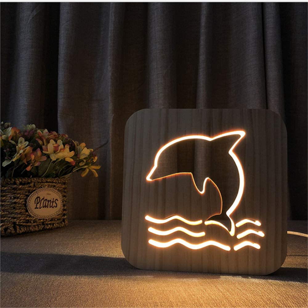Night Light Kid Led Wooden Button Type 3D Wood Table Lamp USB Warm White, Dolphin