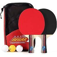 ONEVER Raqueta de Ping-Pong Juego de Mesa de Ping Pong 2 Raqueta de 3 Bolas de Ping-Pong Mango Largo Paddle