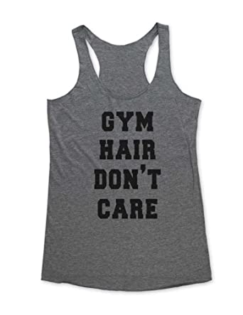 51bebea1 wallsparks Gym Hair Don't Care - Funny Workout Soft Tri-Blend Racerback  Tank at Amazon Women's Clothing store:
