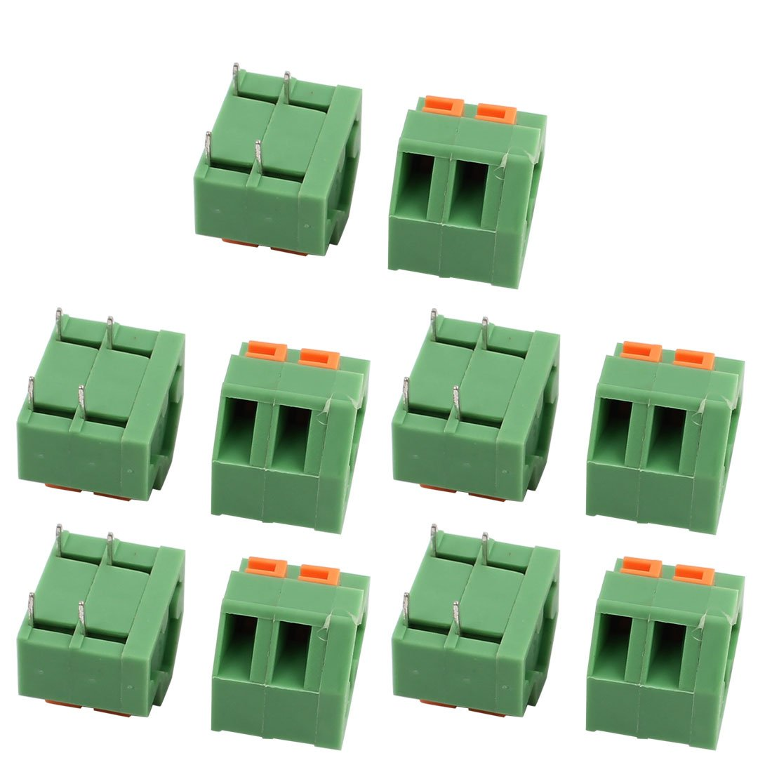 uxcell10pcs KF237 300V 10A 5.08mm Pitch 2P Spring Terminal Block for PCB Mounting