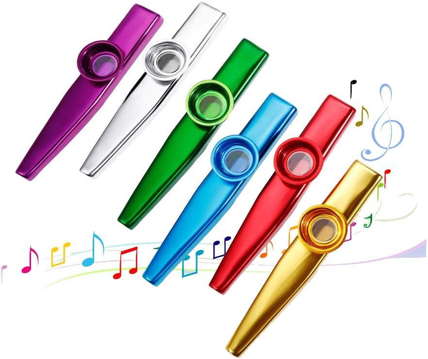 ukul/él/é violon Cadeau id/éal pour les amateurs de musique 6set clavier-piano avec 12 membranes de fl/ûte Kazoo Lot de 12 instruments de musique en m/étal Kazoo Un bon compagnon pour guitare