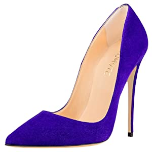 MERUMOTE Women's Pointed Toe Stiletto High Heel Patent Leather Dress Party Usual Pumps Suede Royal Blue 7 US