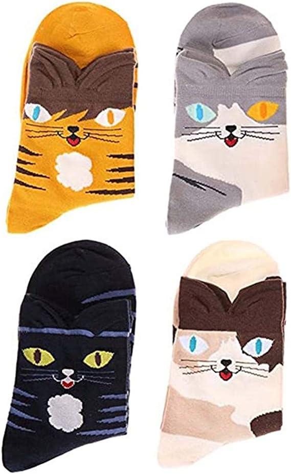 KingYue Calcetines para Mujer Divertidos Lindos de 5 Pares Calcetines de Invierno Casuales de Gato de Perro de Algod/ón para Mujeres Calcetines Altos de Dibujos Animados para Damas
