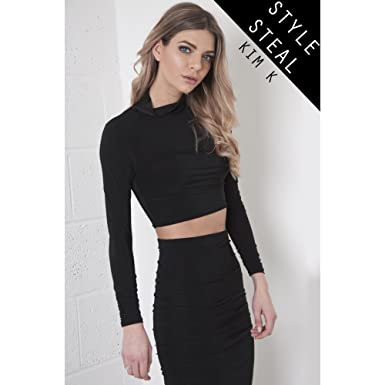 e7823d151d8843 Miss Foxy High Neck Crop Top with Ruched Sleeves in Black  Amazon.co.uk   Clothing