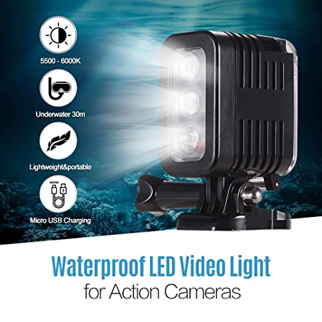 TOPTOO Luz LED Impermeable para Video Luz de Buceo 5500-6000K ...