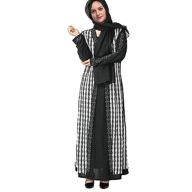 9c048c74f7e4 aliveGOT Muslim Dress Dubai Kaftan Women Long Sleeve Long Dress Islamic  Clothing Black