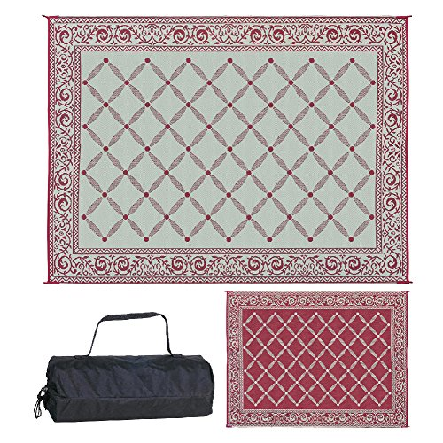 Reversible Mats 119125 Outdoor Patio 9-Feet x 12-Feet, Burgundy/Beige RV Camping Mat
