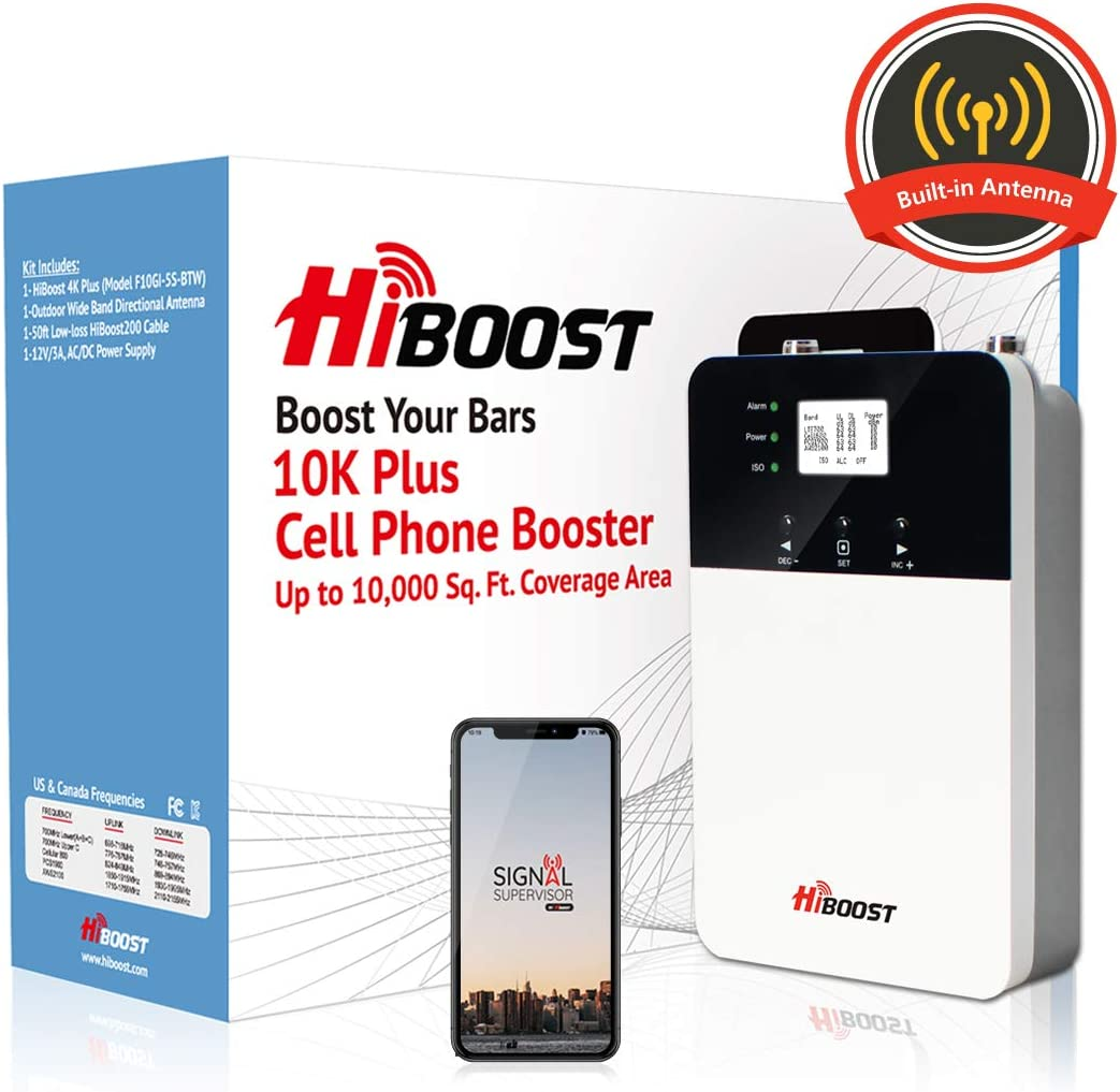 HiBoost Cell Phone Signal Booster for Home and Office Signal Extender Cellular Booster Signal Amplifier up to 4,000-10,000 Sq.Ft,Compatible AT&T, T-Mobile, Verizon, Sprint and More (10K Plus)
