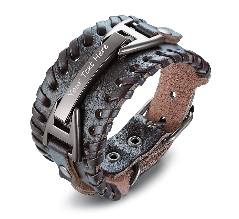 VNOX Personalized Wide Handmade Braided Genuine Leather Buckled Cuff Adjustable Inspirational Bracelet