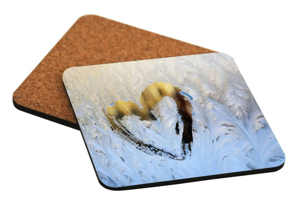 Rikki Knight Heart Drawing on Icy Winter Window Design Square Beer Coasters