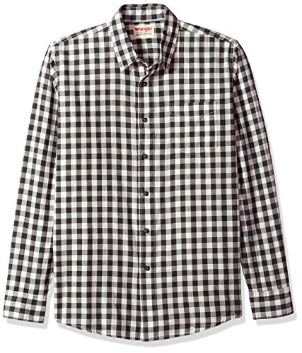 Wrangler Authentics Men's Long Sleeve Premium Gingham Shirt, phantom, L