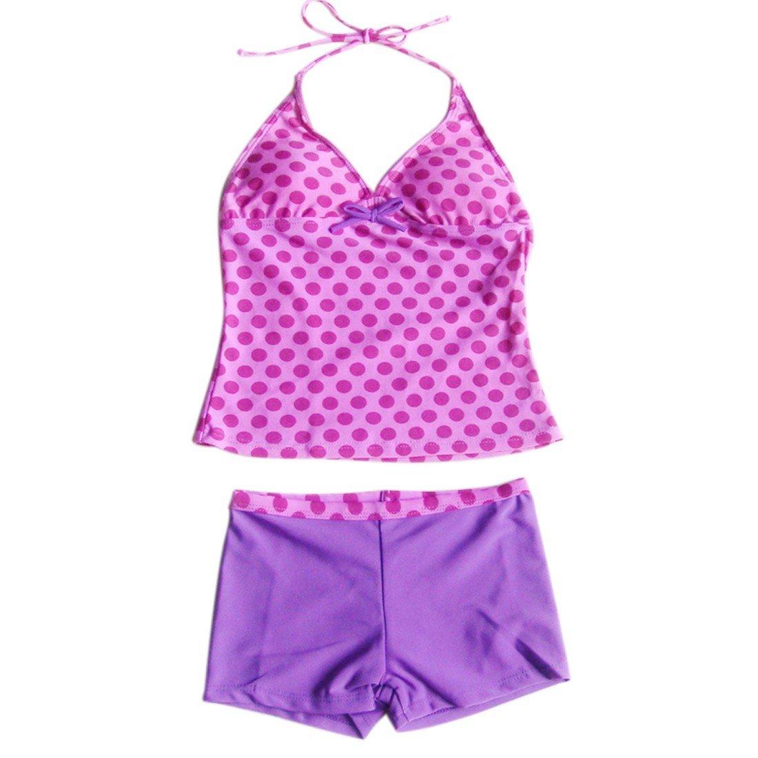 TiaoBug Girls Halter Polka Dots Summer Beach Tankini Swimwear Swimsuit Purple 9-10