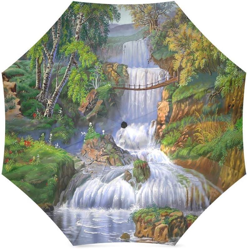 foldable Umbrella Custom Beautiful Landscape Nature Waterfall Grass Trees Compact Travel Windproof Rainproof