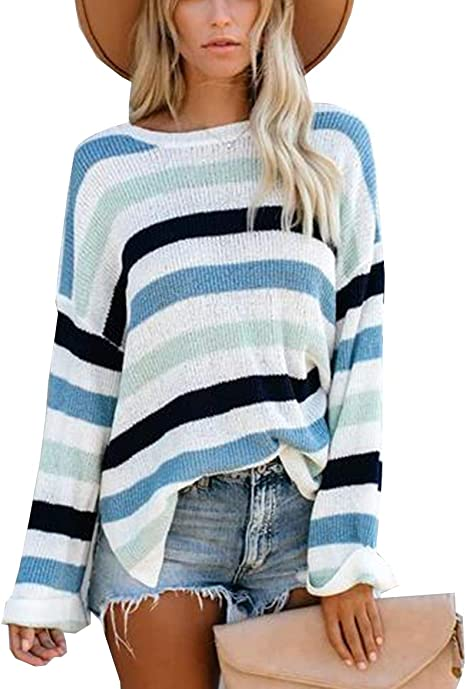 Olidarua Womens Jumper Casual Crew Neck Long Sleeve Striped Color Block Loose Knitted Pullover Sweaters Tops
